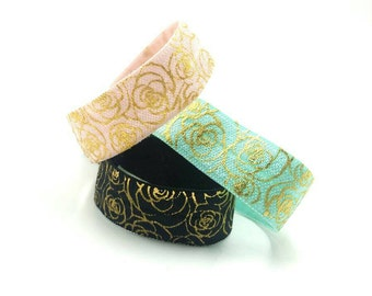 3 piece rose/flower/floral hair ties/hair bands/ponytail holder/hair accessories black/white/pink/gold