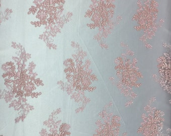 "Dusty Pink Oswald Floral Wedding Gown Dress Lace Fabric - Sold By Yard - 51"" / 52"""