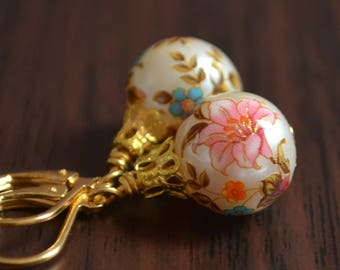 Christmas Ball Earrings, Gold Plated Lever Earwires, Japanese Tensha Beads, Floral, Feminine, Fun Holiday Jewelry