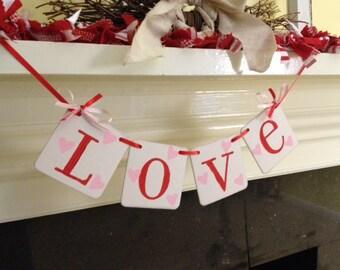 LOVE Banner Valentines Day Decoration Banner Love Garland Happy Valentines Day decoration