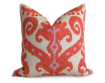 Pair of 2 Ikat Designer Pillow Covers - Linen - Orange Red Coral - 18 inch - Ikat Pillow - Decorative Pillow - Linen Pillow - IKAT - Boho