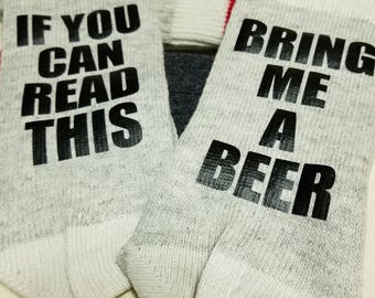 If You Can Read This...Wine Socks, wool socks, stocking stuffers, for her/him