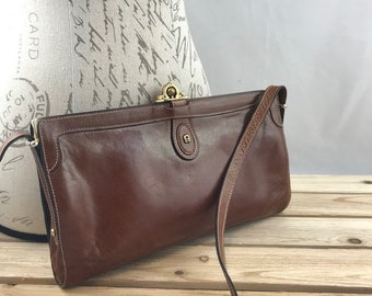 Etienne Aigner Brown Leather Clutch Crossbody Bag