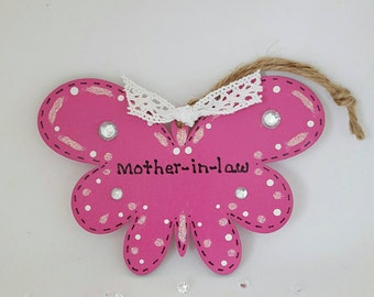 Mother-in-law. Mother-in-law birthday. Butterfly gift. Butterfly tag. Mother-in-law gift.  Home decoration. Hand made painted gift.