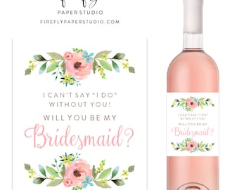 Will You Be My Bridesmaid Wine Label, Bridesmaid Proposal Wine Label, Bridesmaid Gift, Maid of Honor Wine Label - (FPS0013)