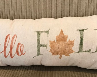 Hello Fall Grain Sack Pillow