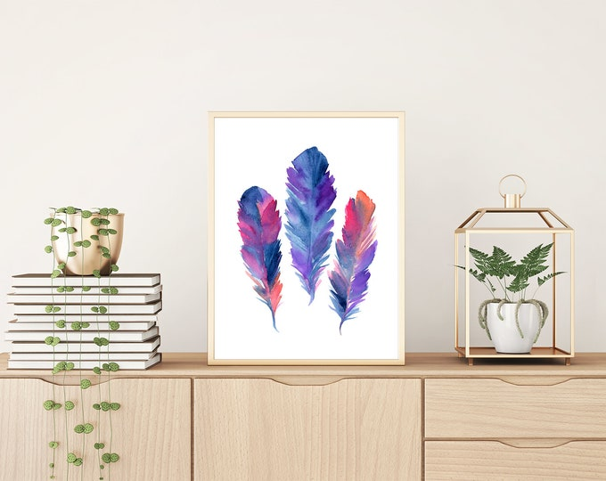 Watercolor Feather Art Print Feather Art Feathers Nature Painting Tribal Watercolor Feathers Wall Art Boho Nature Art Feathers Wall Art
