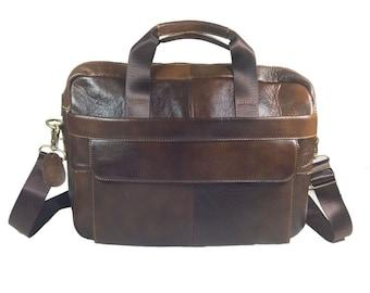 GENUINE LEATHER Brown Soft Laptop MESSENGER Bag & Straps Included Business Men Gift