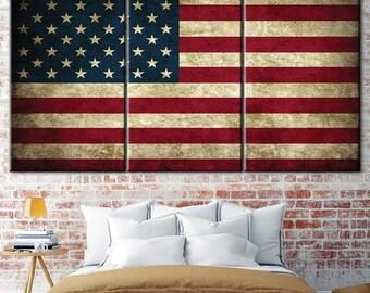 American flag, American flag art, State flag, Flag wall art decor, Custom wall art, a large US flag, wall decor flag, office decor
