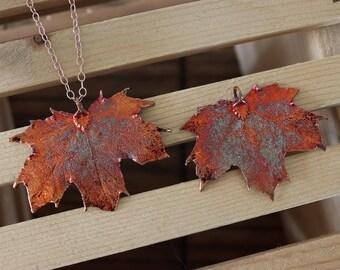 Copper Sugar Maple Leaf Necklace, Real Leaf Necklace, Maple Leaf, Rose Gold Leaf Necklace, Canadian Maple, Long Leaf, Leaf Pendant LC213
