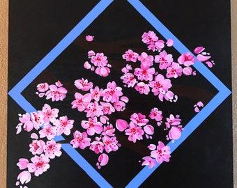 Cherry blossoms original acrylic painting on 12x12 wood panel
