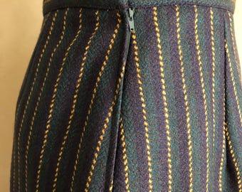 Vintage 70's Striped Wool Pencil skirt