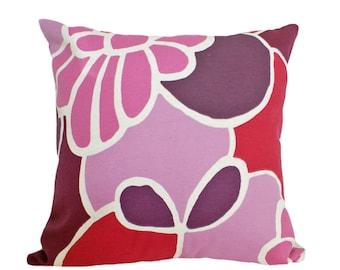 Mod Pillows, Girls Decorative Pillow, 18x18, Throw Pillow, Purple Pillow Cover, Pink Floral Pillows, Fuchsia Mauve Purple, Zipper, Sale