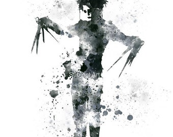 Edward Scissorhands ART PRINT illustration, Johnny Depp, Movie, Wall Art, Home Decor