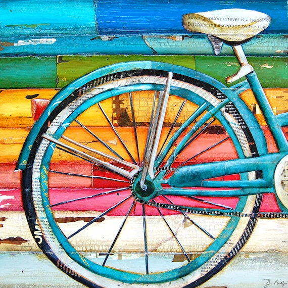 art print or canvas bicycle bike biking cycling beach ocean