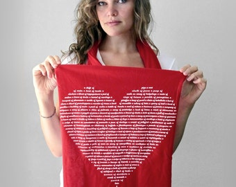Valentine's Gift for her, Red Heart Scarf, best valentines day gift for her, scarves for women cotton, heart shaped gift for wife, mom gift