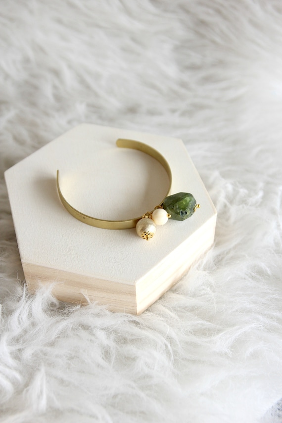 Handstamped brass bangle with stones