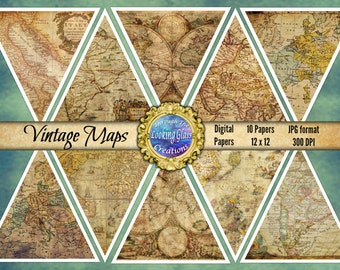 Antique Maps Digital Paper Vintage Maps Digital Paper Digital Paper for Cards Scrapbooking Old Maps Digital Paper Pack Instant Download