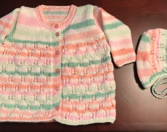 Beautiful Hand Knit Child's Cardigan & Hat - 3 year old