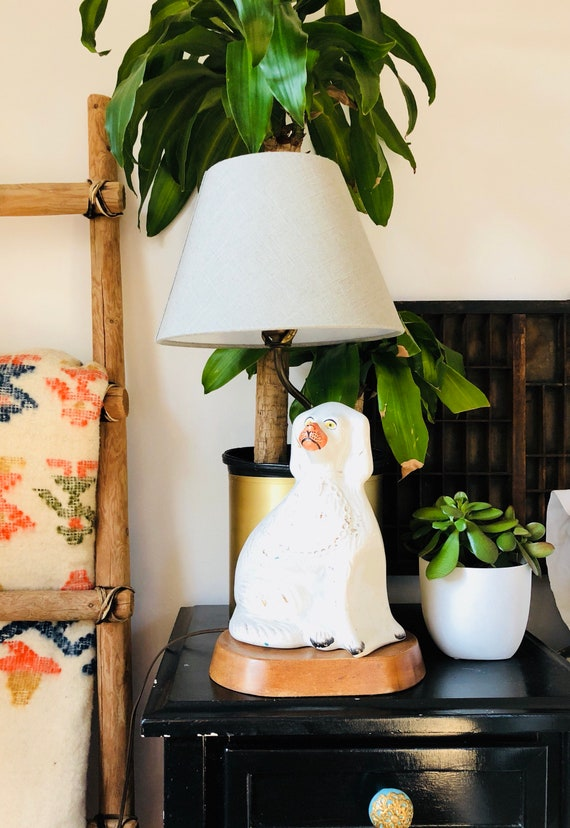RARE Antique 1800s Staffordshire Dog Converted to Table Lamp - White Staffordshire King Charles Spaniel Lamp
