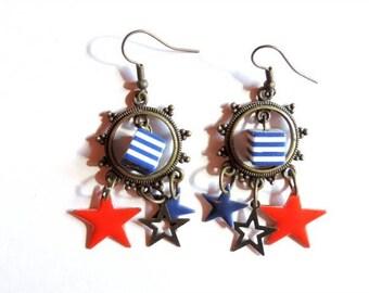 Boucles d'oreilles - Made in America (rouge et bleu)