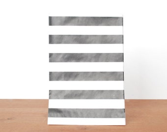 goody bags treat bags: 10 black and white gift bags, black stripes, favor bags