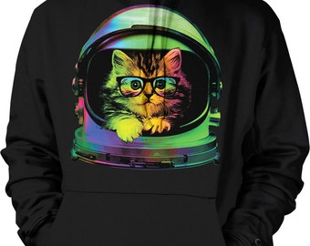 Space Kitten, Rainbow Astronaut Helmet, Galaxy Hooded Sweatshirt, NOFO_00371