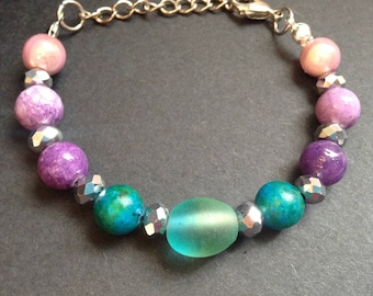 Blue, Turquoise, Purple, and Pink Beaded Adjustable Bracelet Unique Adjustable Beaded Bracelet