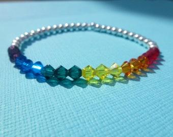 Sterling Silver 925 Round Bead & Swarovski Crystal Bicone Bead Gay Pride Rainbow Stretch Bracelet Lesbian LGBT