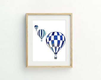 Blue Hot Air Balloons Print