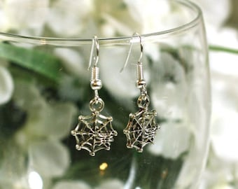 Small Silver Spider and Spider Web Halloween Charm Earrings