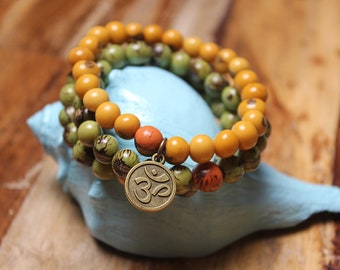 Om Bracelet Trio - Yellow and Green with a pop of Organge