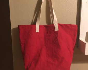 Large Red Cotton Shopping bag, more colors, canvas shopping bag, cotton reusable bag, Mens shopping bag, Basic Shopping Bag II