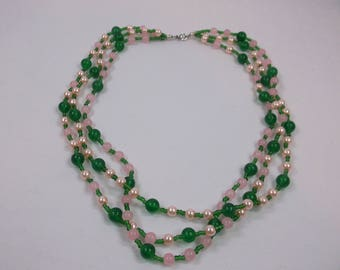 Rose Quartz and Green Agate 3 Strand Beaded Necklace 18inch  w Free Shipping