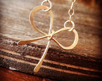 gold bow necklace with handmade bow charm, 14k gold filled necklace chain, small gold necklace, bridesmaid gift