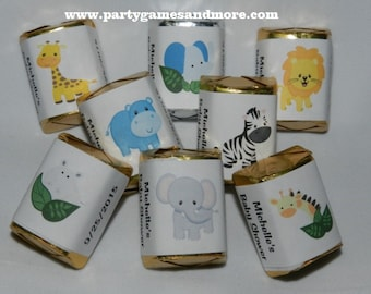 30 Unique Hershey's nugget labels, candy wrappers  Lion, Giraffe, Hippo, Elephant, Cheetah or Monkey Jungle Animals Baby Shower, Birthday