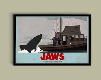 Jaws 11 x 17 Inch Minimalist Movie Poster