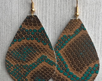 Turquoise and Brown Reptile Skin Pattern - Leather Teardrop Earrings