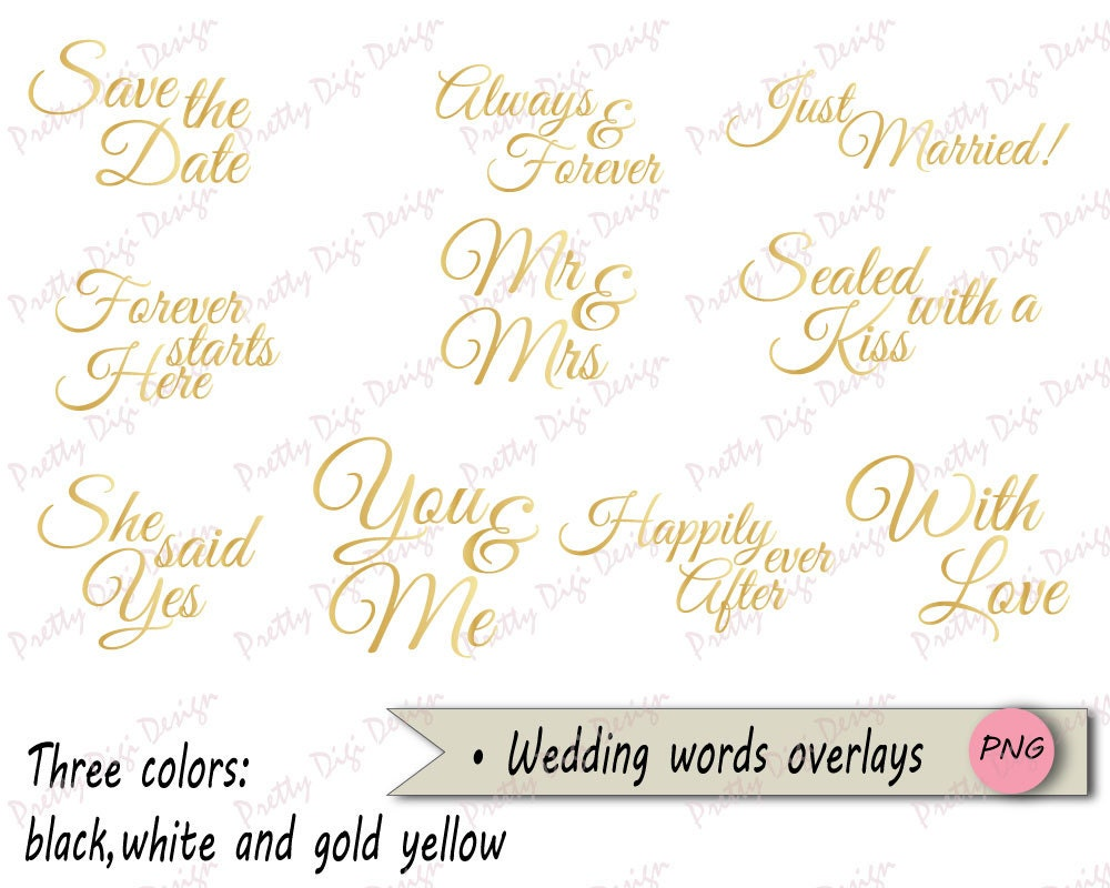 Wedding Words Overlays, Black and White PNG word overlays, Save the ...