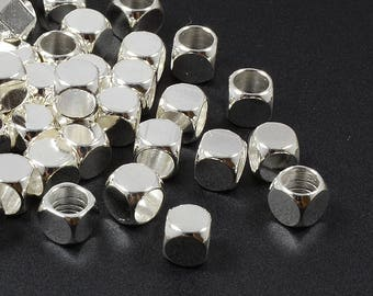 Round Cube Beads, 5mm, Silver Beads, Tarnish Resistant, Lead Free, Solid Brass Beads, Large Hole Beads, 4mm