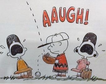1966 Charlie Brown Baseball Matted Vintage Print