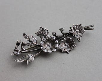 Stunning Georgian Victorian Seed Pearl and Silver Floral Spray Brooch