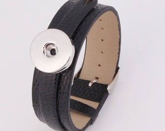 wristwatch black faux leather effect snake for snaps and clasp adjustable