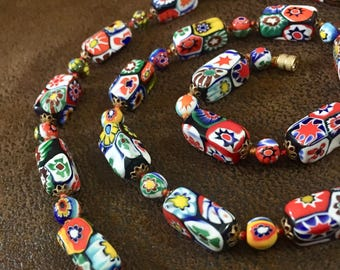 """Vintage Long Millefiori Necklace, Made in Italy, 29"""" Long"""