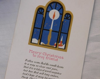 Candle in the Window Christmas Greeting Vintage Postcard