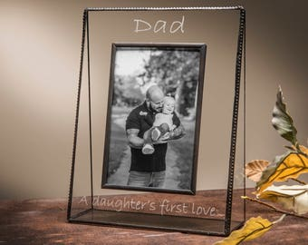 Personalized Gift for Dad  Glass Picture Frame Engraved Photo Frame Father's Day Gift Step Dad A Daughter's first love Pic 319 Series EP533