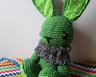 Bunny Rabbit Toy / Soft toy/ Rabbit / Bunny rabbit / Patchwork / Rabbit with scarf / Crochet / Green Bunny / Amigurumi / Baby shower