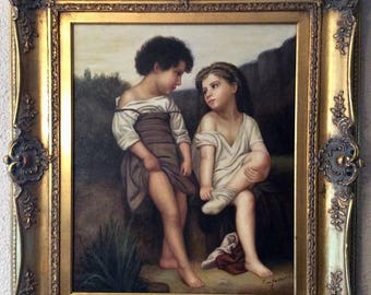 Sale Antique Style French Oil Painting The Young Bathers After Bouguereau O/C Signed Framed Home Decor Art