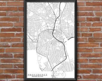 Providence, Rhode Island Map Art