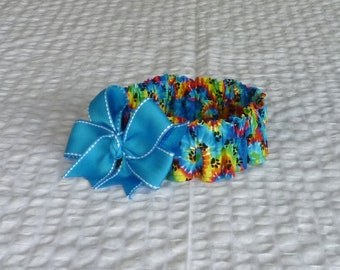 "Dog Ruffle Collar, Pet Bandana, Black Paws on Tie Dye Dog Scrunchie Collar with sky blue bow - Size L: 16"" to 18"" neck"
